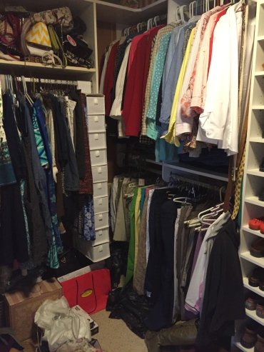 cluttered closet