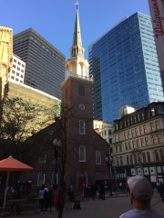Old and New - Old South Meeting House surrounded by modern buildings