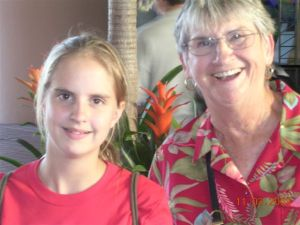 Close up of eleven year old girl with her grandmother