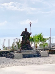 Statue of St. Peter with Sea Of Galilee in Background