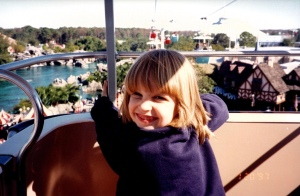 Girl in gondola ride over Fantasyland Walt Disney World