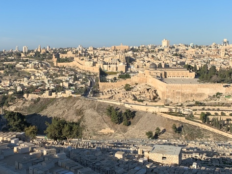 View of the ancient city of Jerusalem from the Mount of Olives