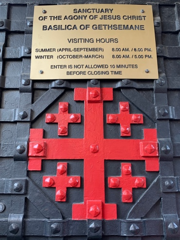 Red Jerusalem Cross on Iron church door