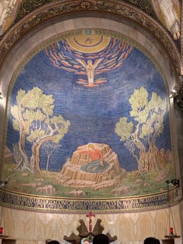 Altar Detail - Mosaic of Jesus praying on a rock in the Garden of Gethsemane