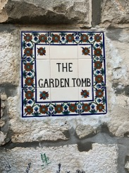 Decorative tile sign for The Garden Tomb