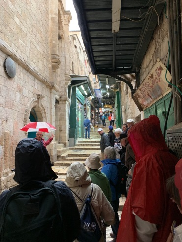 People on a narrow walkway with steps listening to a tour guide
