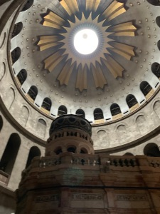 Looking up into the domed ceiling over the Holy Sepulcher