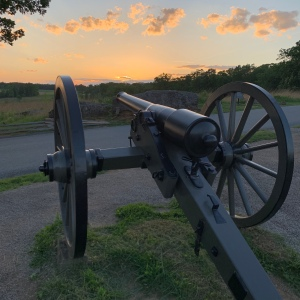 Cannon pointing west at sunset