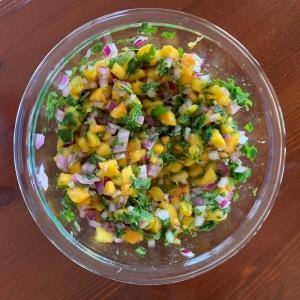 Bowl of Peach Salsa