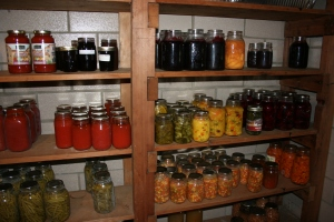 Shelves of canned fruits and vegetables