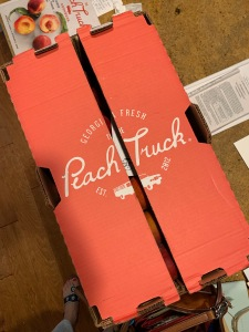 Peach colored cardboard box